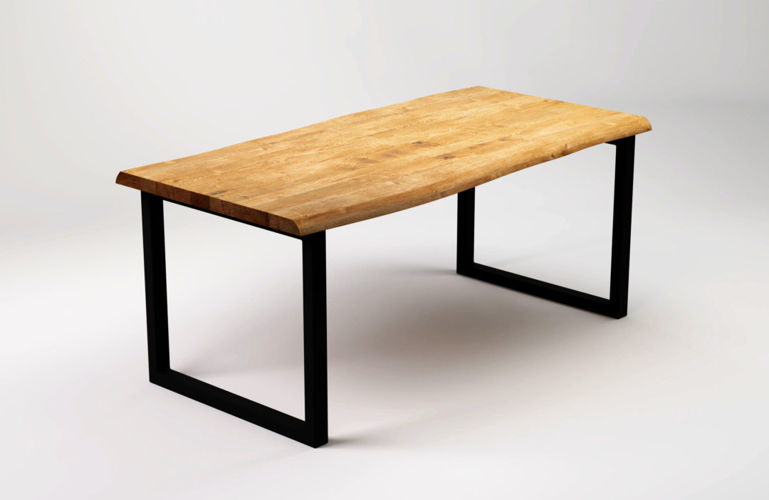 R black raw wood dining table with live edge sfd furniture for Black wood dining table