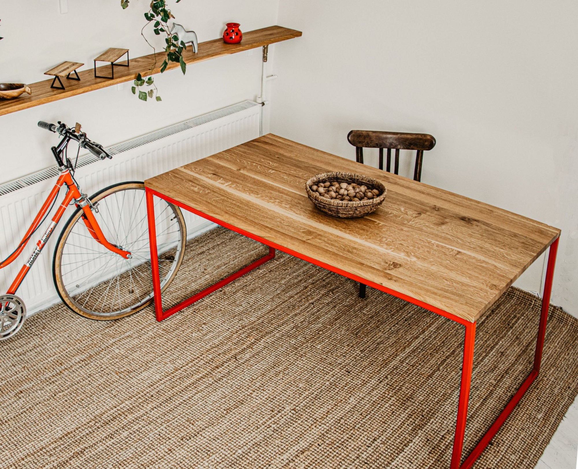 2_BASIC RED II modern red frame dining table